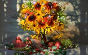 Картинка лето, вишня, яблоко, тень, букет, арбуз, виноград, фрукты, натюрморт, дача, рудбекия, хоста