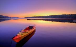 Картинка пейзаж, пространство, река, рассвет, отдых, лодка, спокойствие, тишина, атмосфера, summer, sunrise, каяк, боке, boat, travel, …