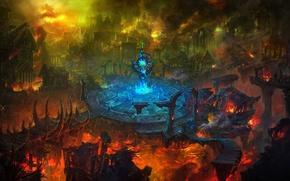 Картинка город, пожар, разрушение, руины, Арена
