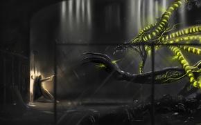 Картинка оружие, человек, монстр, существо, помещение, решетки, фантастика. арт