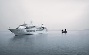 Картинка туман, гладь, корабль, парусник, лайнер, silwer cloud, серебряное облако