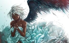Картинка девушка, перья, крыло, арт, белые волосы