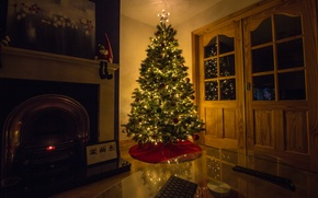 Картинка дом, праздник, ёлка