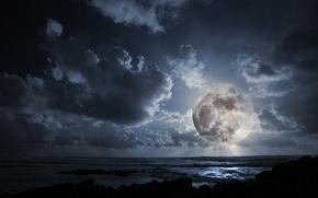 Обои облака, ночь, океан, луна, полнолуние