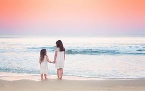 Картинка море, пляж, небо, природа, дети