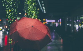 Обои красный, боке, улица, огни, зонт, город