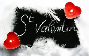 Картинка сердце, свеча, перья, огонёк, день святого Валентина