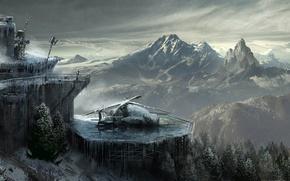 Картинка Небо, Облака, Горы, Снег, Лес, Лара Крофт, Арт, Техника, Lara Croft, Rise of the: Tomb …