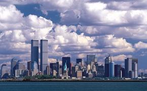 Картинка море, город, небоскребы, USA, статуя свободы, сша