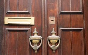 Обои wood, metal, ornaments, door