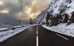 Обои дорога, снег, горы