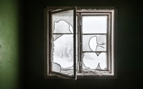Обои зима, комната, окно