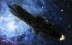 Картинка космос, звезды, туманность, корабли, арт, habata
