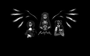 Картинка девушки, крылья, минимализм, Day of the dead