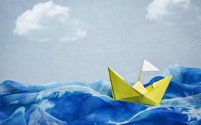 Картинка волны, стиль, фон, корабль