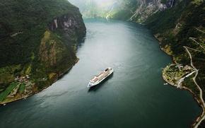Картинка лодка, норвегия, фьорд