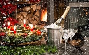 Картинка шарики, украшения, праздник, Новый Год, Рождество, Christmas, New Year, glasses, candles, champagne