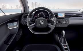 Картинка море, город, Volkswagen, XL1, вид с водительского сиденья