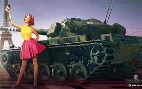 Обои поза, Nikita Bolyakov, фотоаппарат, AMX ELC bis, арт, Эйфелева башня, французский, площадь, World of Tanks, ...