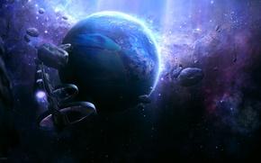 Картинка планета, Звезды, астероиды, космический корабли