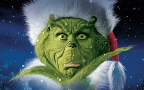 Обои Face, Boy, Grinch, Stole, How, Imagine Entertainment, Couds, Snowflakes, Green, Claus, 2000, Christmas, New Year, ...