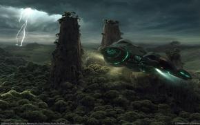 Обои корабль, молния, арт, деревья, колонны, jieanu dragos, полет, скалы, транспорт