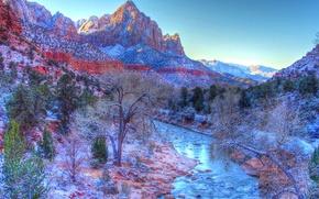 Картинка зима, небо, снег, горы, река, Юта, США, zion national park