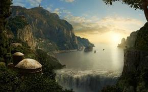 Картинка закат, горы, водопад, 155