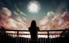 Картинка небо, девушка, облака, арт, перила, фейерверк, спиной