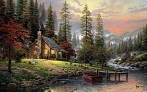 Картинка лес, собаки, туман, дом, река, камни, лодка, рисунок, картина, ели, белка, арт, стул, рисунки, картины, ...
