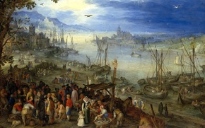 Обои пейзаж, Ян Брейгель старший, люди, Рыбный Рынок на Берегу Реки, лодки, картина