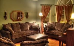 Обои дизайн, стиль, лампы, комната, диван, мебель, интерьер, подушки, зеркало, кресла, шторы, коричневый