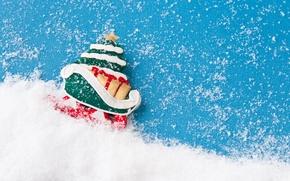 Картинка снег, елка, новый год, new year, snow, Merry Christmas, Счастливого Рождества, Christmas tree, Santa Sleigh, ...