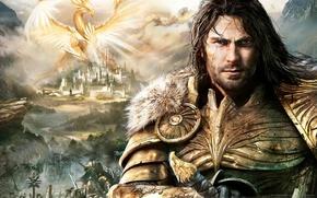 Картинка пейзаж, замок, фантастика, дракон, фэнтези, рыцарь, game wallpapers, Might & Magic Heroes 7