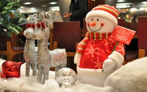 Картинка макро, игрушки, серебро, елка, снеговик, олени, Новогодние