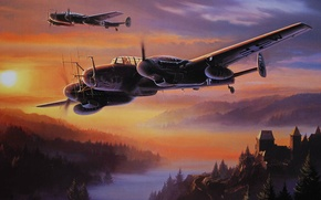Картинка лес, горы, туман, замок, Радар, Ночной истребитель, G-4, Bf 110, FuG 202/220, Lichtenstein