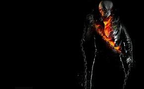 Картинка Ghost Rider, ФОН, ОГОНЬ, ЧЁРНЫЙ, ПЛАМЯ, ЦЕПЬ, ПРИЗРАЧНЫЙ ГОНЩИК, СКЕЛЕТ