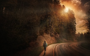 Картинка дорога, вечер, девочка