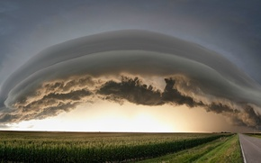 Картинка дорога, поле, шторм, туча