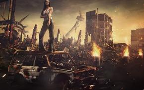 Обои сигарета, америка, женщина, руины, каркас