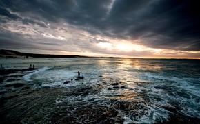 Картинка море, облака, свет, берег