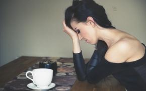 Картинка девушка, поза, чашка, photographer, сожаление, Lukasz Derengowski