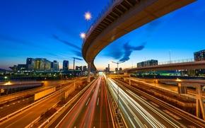 Картинка Токио, дома, путепровод, Япония, трассы