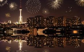 Обои cityscape, berlin, город, midnight, огни, city, lights, fireworks, здания, Берлин, Германия, городской пейзаж, buildings, germany, ...