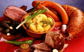 Картинка перец, буженина, картофель, овощи, чеснок, горчица, колбаса, мясо, лук
