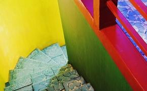 Картинка синий, голубой, ступеньки, желтий, разноцветние, зелёний, красний