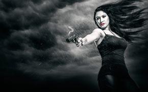 Картинка девушка, пистолет, арт, Sin City, model, Город грехов, по фильму, Romy