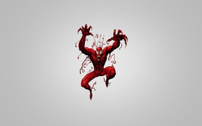 Картинка человек-паук, серый фон, Comics, Spider-Man, Carnage, красное существо