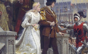 Картинка замок, картина, меч, доспехи, sword, рыцарь, невеста, armor, свадьба, жених, castle, Middle Ages, picture, wedding, ...