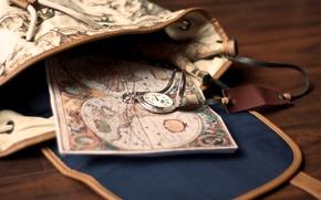 Картинка часы, карта, сумка, рюкзак, карманные